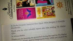 Acknowledgement by Author Sundari Venkatraman